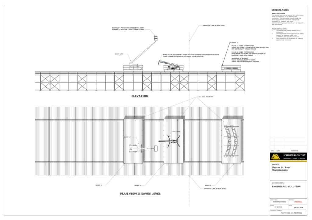 Pearse Station Elevation and Plan